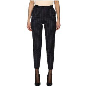 Pinko Gessato Wool Blend Pinstripe Dress Pants in Dark Blue